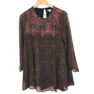 Ecote Long Sleeve Boho Shift Mini Dress